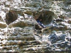 Rock Climbing Photo: Sitting in a huge hueco.  RRG, Kentucky.