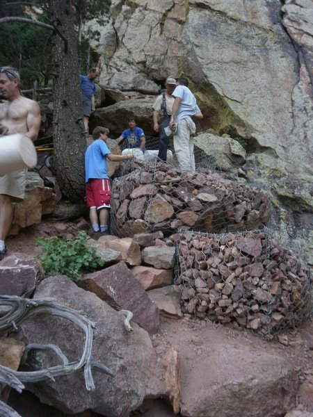 Rock Climbing Photo: More Gabions...   It took many days of volunteer e...