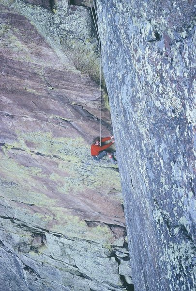 Rodger Raubach following on the steep dihedral/lieback pitch during the second ascent of the route.