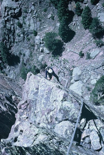 Rock Climbing Photo: Roger Vohs following the final pitch of Dirty Deed...