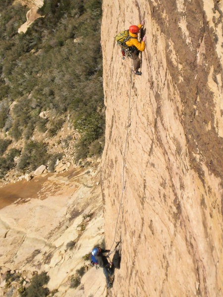 The Rougeux Brothers, Mike (belaying) and Brian high on Eagle Dance. Photo from LT29 - Drew Peterson
