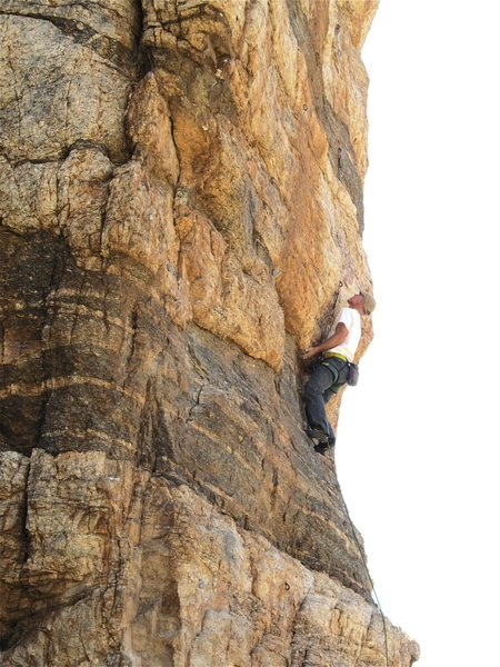 Rock Climbing Photo: Climber on the route which is the third from the l...