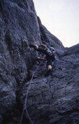 Rock Climbing Photo: During the first ascent of Sort/hvitt