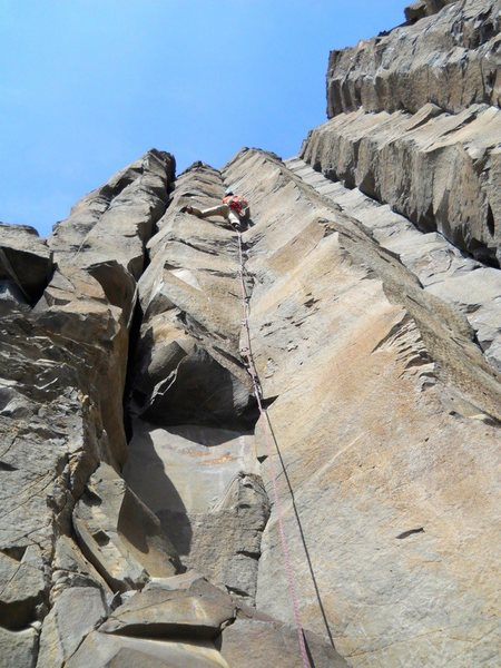 Rock Climbing Photo: Ekeing out my onsight of this here Spinning Mars l...