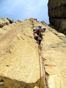 Rock Climbing Photo: Shirley enjoying the decent Bob Dylan line.