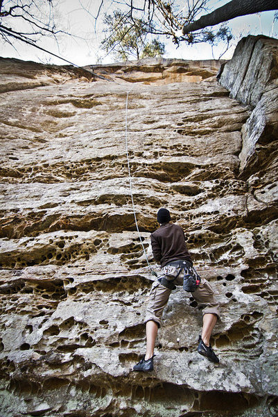 Rock Climbing Photo: Jakob working the start on TR. 3/3/2012. Photo by ...