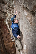 Rock Climbing Photo: Seth about to throw for a jug on a snowy morning i...