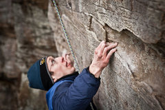 Rock Climbing Photo: Seth climbing with cold hands on a snowy morning i...