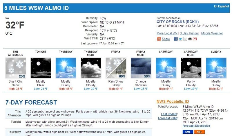 Weather for CIRO April 20th weekend.
