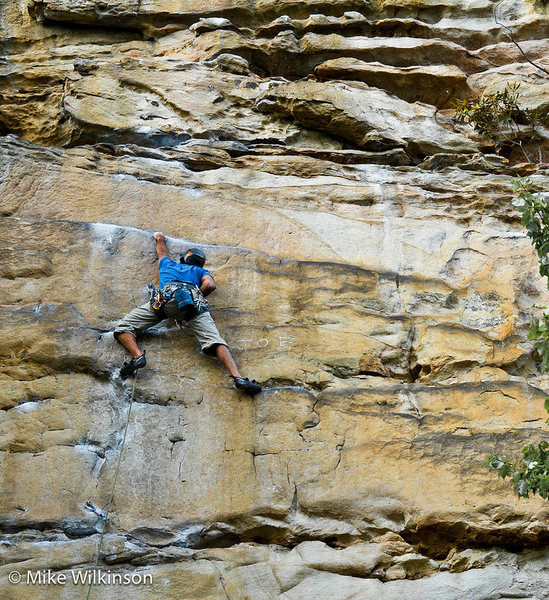 Sujay working the crux. 9/16/2012
