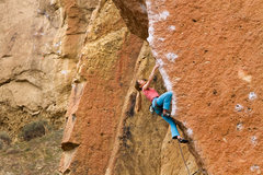 Pinching at the crux just above the 2nd bolt on Chain Reaction, Smith Rock, OR