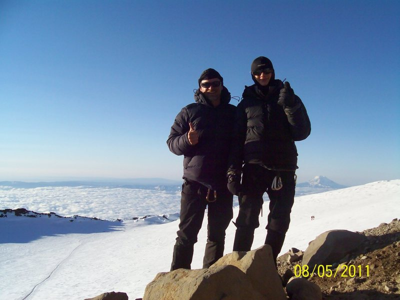 Son and I on top of Rainier