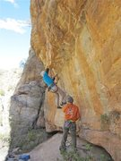 Rock Climbing Photo: Jim Scott on the steepest FA of his life.  You wil...