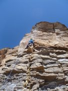 Rock Climbing Photo: Moritz about a third of the way up Velociraptor.