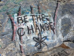 Rock Climbing Photo: Graffitti at Rock Rimmon. Hey, at least it's got a...