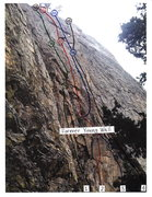 Rock Climbing Photo: After The Gold Rush is the 2nd route from the left...