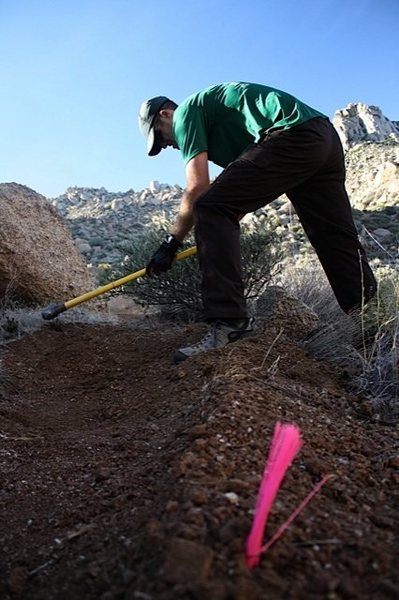 Mike putting finishing touches on the climber's trail   to Sven Tower III, McDowells Mtns Scottsdale  AZ