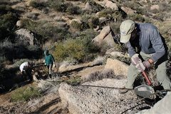 Rock Climbing Photo: Using the grip- hoist on our trail  work day