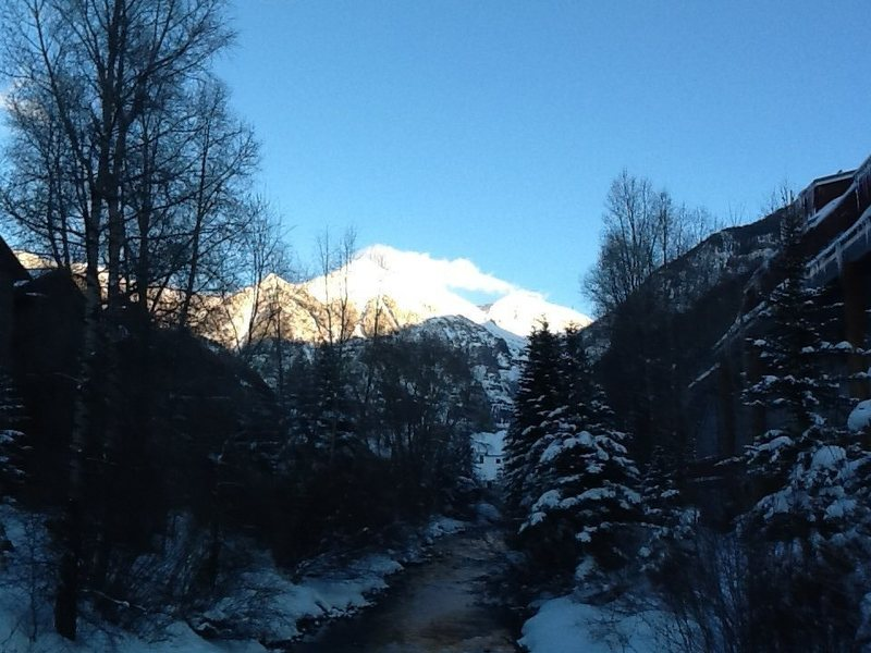 The creek trail in Telluride CO with Ajax Mountain in the background