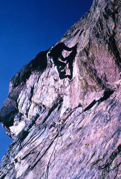 Bob Culp, topping out on Super Slab, November, 1966. Note the Kronhofers and Columbian rope.