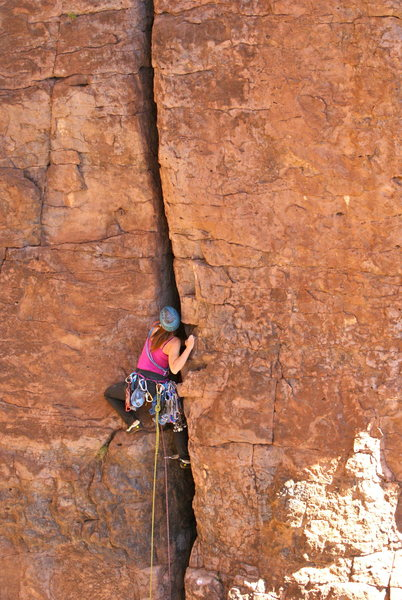 Rock Climbing Photo: Marcy working the FA onsight and ground up.  Photo...