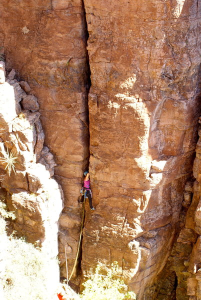 Rock Climbing Photo: Marcy on the bottom part of the route.  Photo by N...