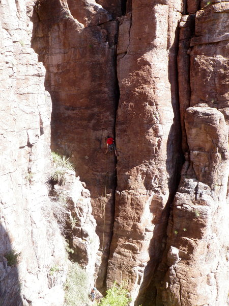 Rock Climbing Photo: Up higher on the route.  Photo courtesy of Nestor ...