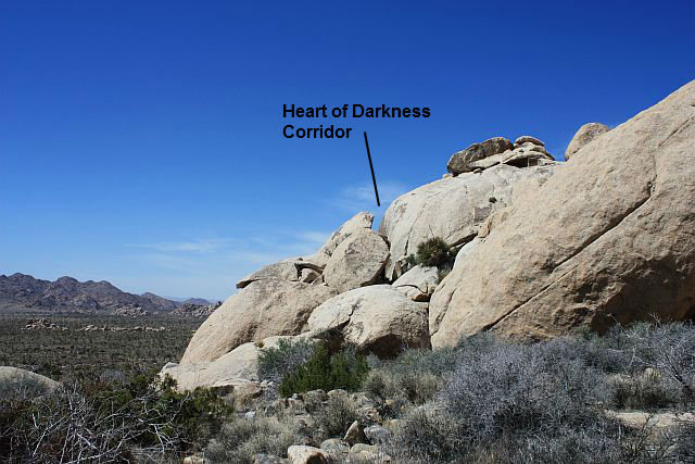 Rock Climbing Photo: Heart of Darkness Corridor from the trail, Joshua ...