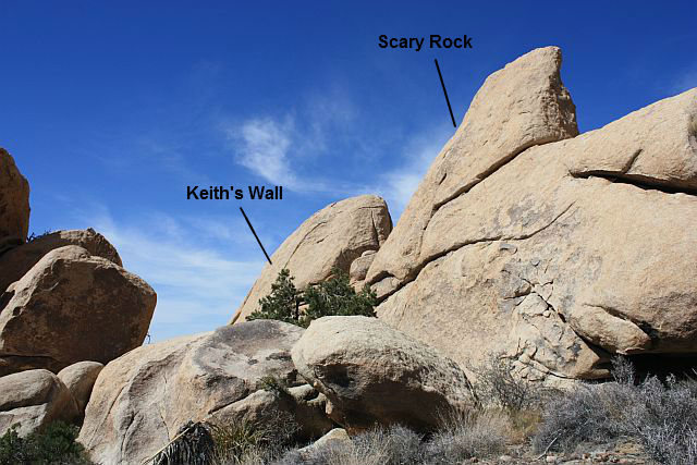 Keith's Wall and Scary Rock in The Asylum, Joshua Tree NP