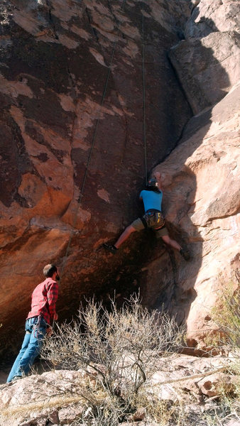 Rock Climbing Photo: Stephen Peinado working on the cruxy start