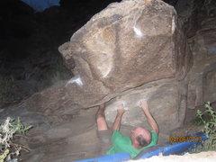 Rock Climbing Photo: Follow chalk line...top out is crux