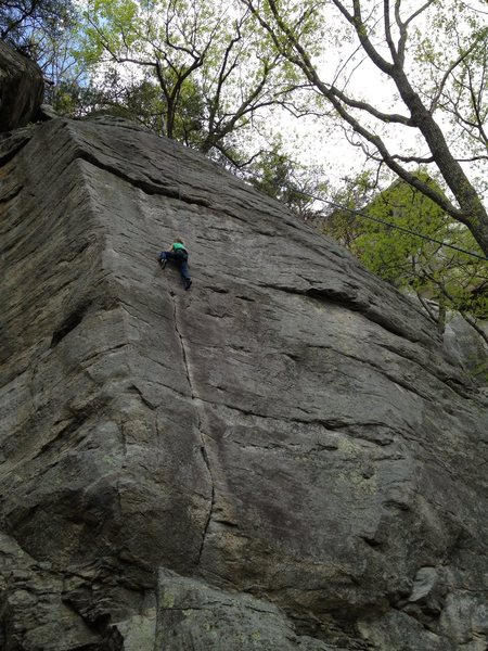6 year old Una Jones on top rope above the nice crack of Screamweaver.