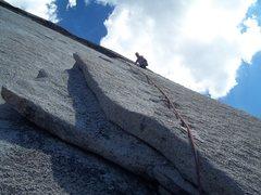 Rock Climbing Photo: David Shuey, Snake Dike 5.7 R, Half Dome, Yosemite...