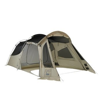"Sierra Design Mirage 2. Vestibule is in ""shade"" mode. Mosquito net sides can roll down or it can be  completely sealed for storms."