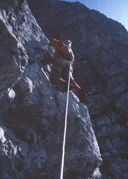 """Right on the corner. """"Toto"""" is gripping the arête with his right hand!"""