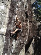 Rock Climbing Photo: Mike nearing the second bolt