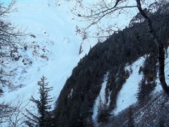 Rock Climbing Photo: Be wary of the avalanche runout to the left of the...