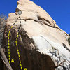 Scary Rock (North Face), Joshua Tree NP<br> <br> A. Thorazine Left (5.11b)<br> B. Thorazine Right (5.12a)