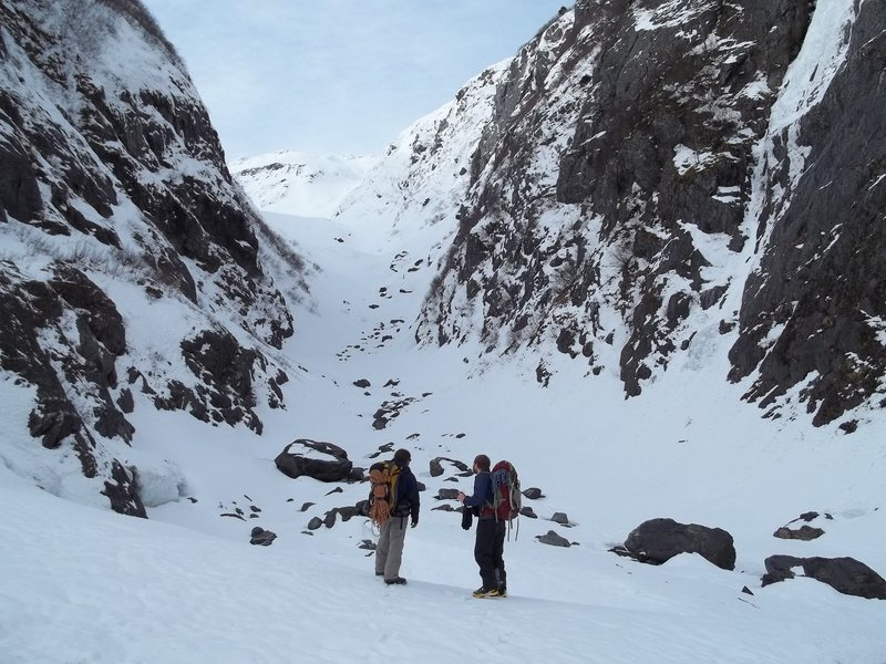 Craig Hastings and Chuck Grittner looking up Middle Glacier.  Luckyman is the obvious ice smear on the right wall of the canyon.