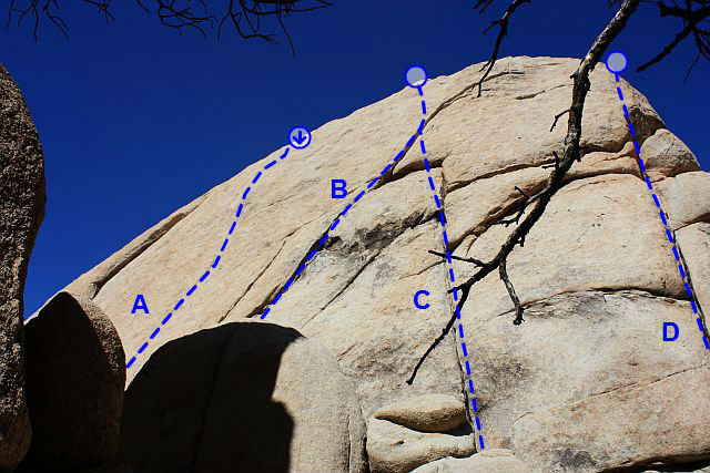 Photo/topo for Keith's Wall (West Face), Joshua Tree NP<br> <br> A. Bruckner's Boogie (5.10b)<br> B. Grain Block (5.7)<br> C. Keith's Cruise (5.8)<br> D. Freudian Slip (5.8 R)