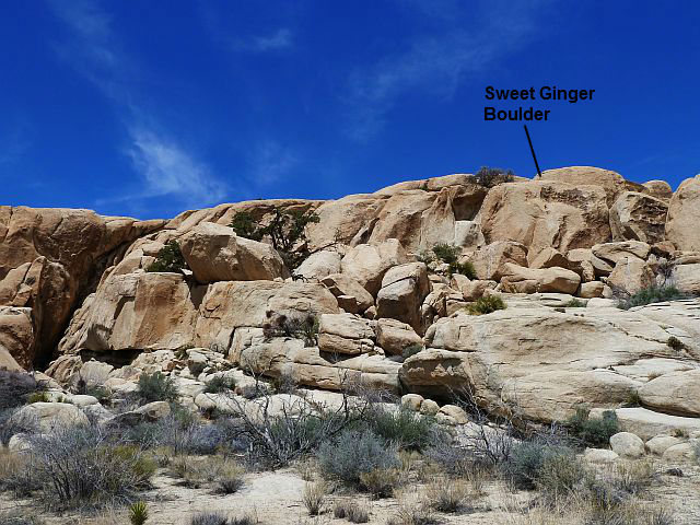 Rock Climbing Photo: Sweet Ginger Boulder overview, Joshua Tree NP