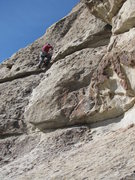 """Rock Climbing Photo: Rodger following on """"Flake Route."""""""
