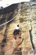 Rock Climbing Photo: Landon on a valiant attempt of BeBop Deluxe.