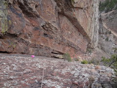 Rock Climbing Photo: Norah climbing up the lower ramp in Eldo