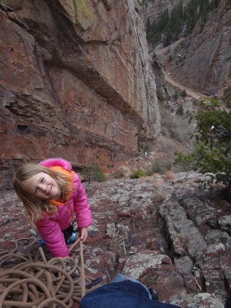 Rock Climbing Photo: Norah getting to the belay.