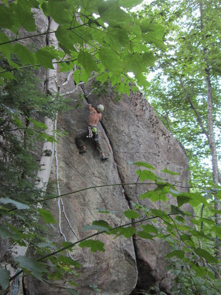 Rock Climbing Photo: Nick on the upper crux of this great climb..