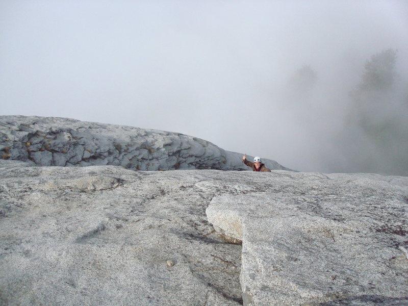 Reid taking an alternative finish on a foggy day