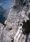"Rock Climbing Photo: Looking across the face towards ""Via Commune,..."