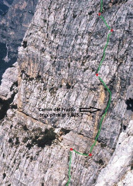 Sketch overlay showing approximate line of route and belay points. Belays are all bolt or piton protected.
