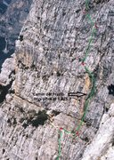Rock Climbing Photo: Sketch overlay showing approximate line of route a...